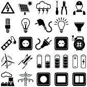 Electricity icon collection - vector silhouette illustration