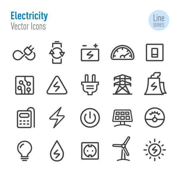 ikony energii elektrycznej - seria linii wektorowych - przewód składnik elektryczny stock illustrations