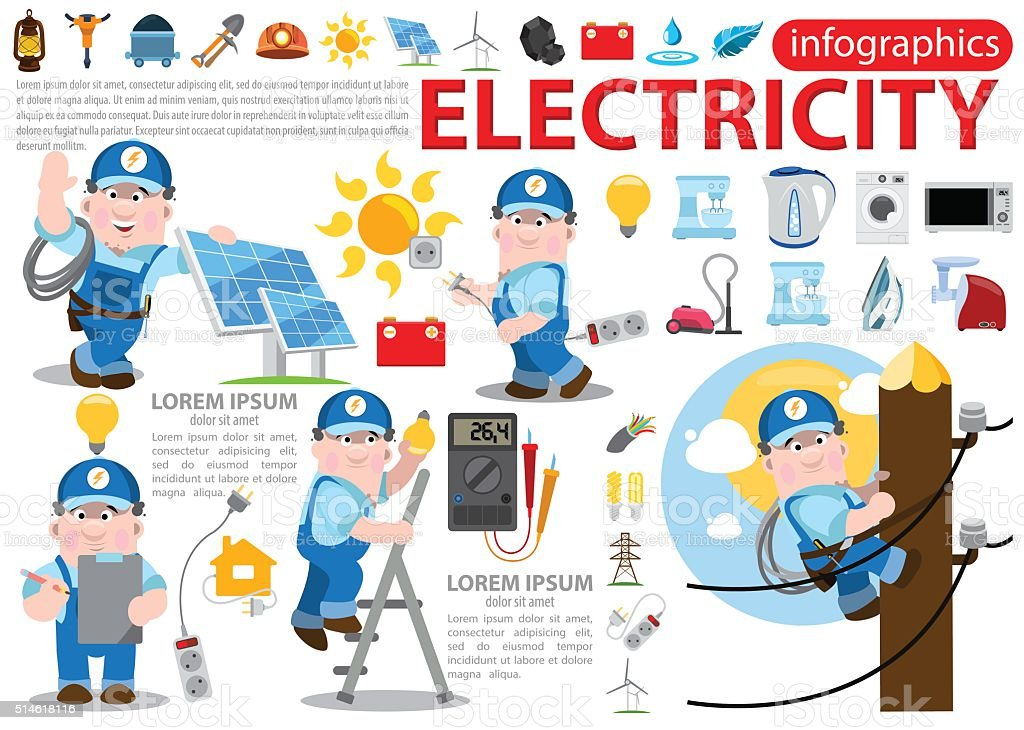 Electricity infographics vector art illustration