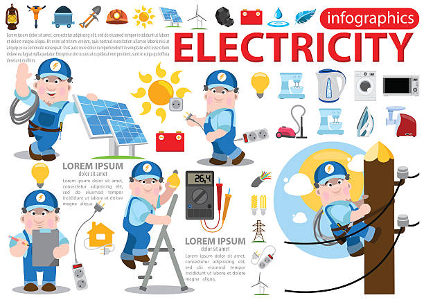 ilustrações, clipart, desenhos animados e ícones de eletricidade infográficos - eletricista