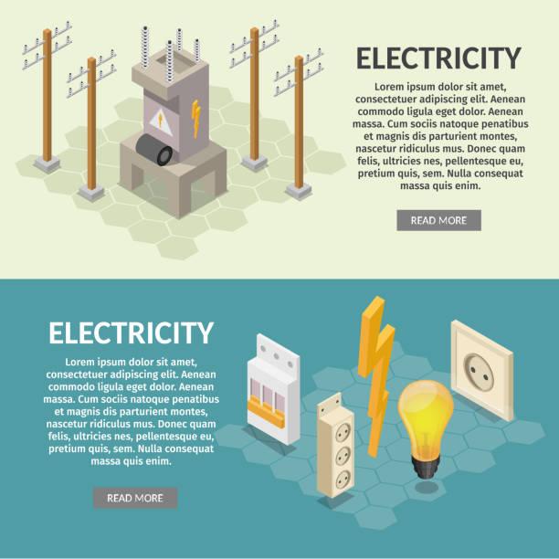 bildbanksillustrationer, clip art samt tecknat material och ikoner med el isometrisk element av transformator, lampa, sockel, förlängning, switch, kolumn. - changing bulb led