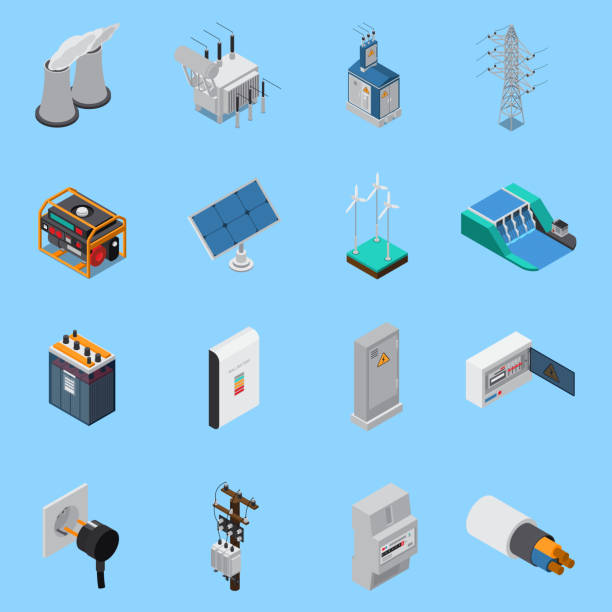 electricity isometric icons Electricity isometric icons set with cable solar panels wind hydro power generators transformer socket isolated vector illustration electricity transformer stock illustrations