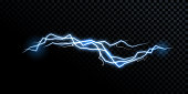 Electricity lightning thunderbolt vector realistic isolated thunder light on transparent background
