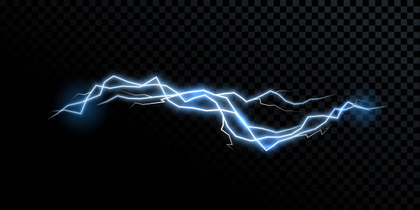 Electricity lightning thunderbolt vector realistic isolated thunder light on transparent background Electricity lightning thunderbolt vector realistic isolated thunder light on transparent background lightning stock illustrations