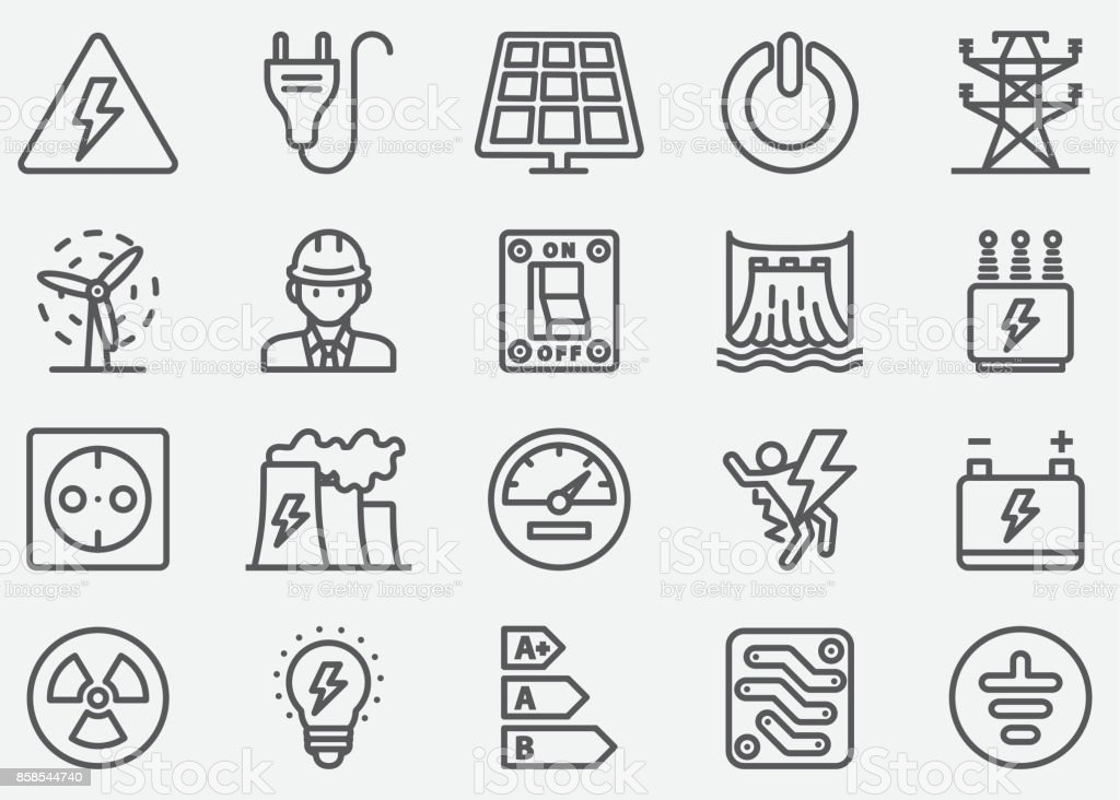 Electricity Line Icons vector art illustration