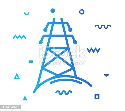 Electricity outline style icon design with decorations and gradient color. Line vector icon illustration for modern infographics, mobile designs and web banners.