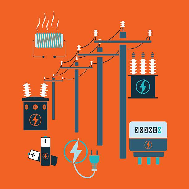 Electricity line Electricity line flat design theme. Vector illustration. transformer stock illustrations