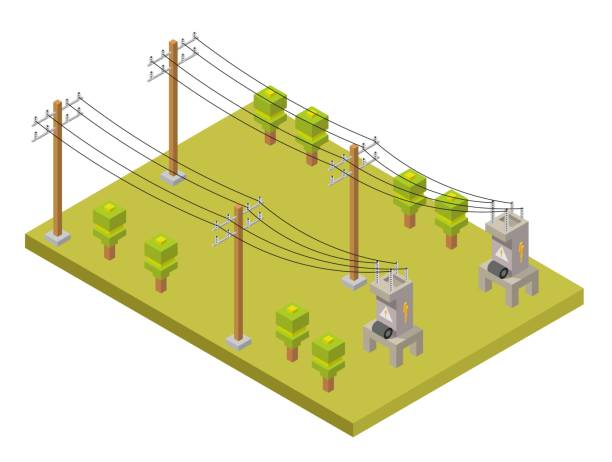 Electricity low poly isometric elements of transformer, extension and column. Electricity low poly isometric elements of transformer, extension and column. transformer stock illustrations