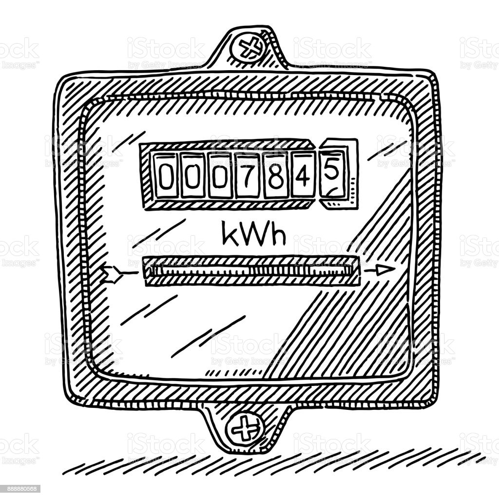 Electricity Meter Drawing Stock Vector Art & More Images of Arrow ...