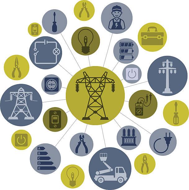 ilustraciones, imágenes clip art, dibujos animados e iconos de stock de montaje de electricidad - amperímetro