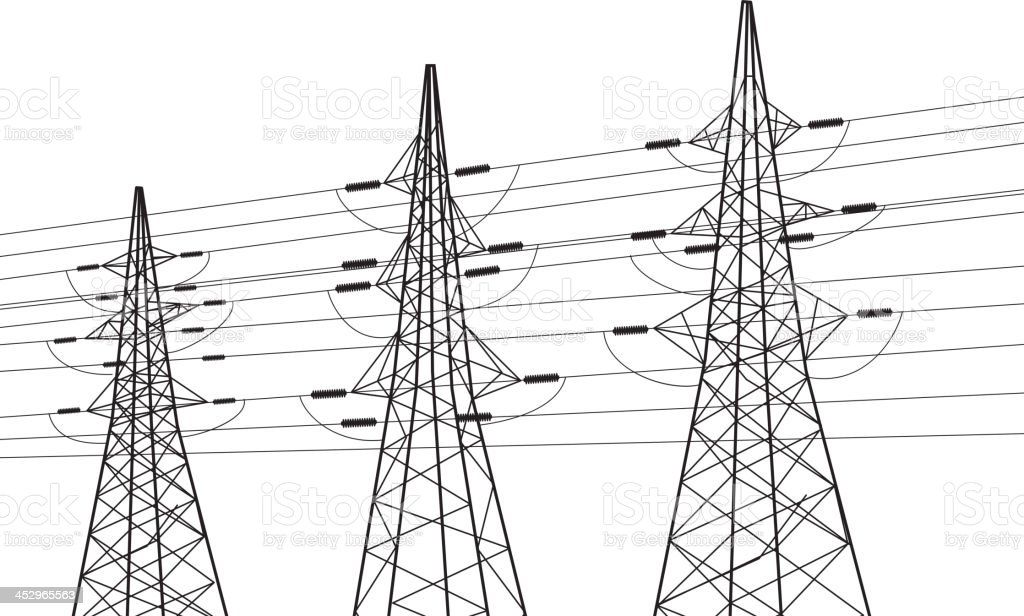 electricity pole over white stock vector art  u0026 more images