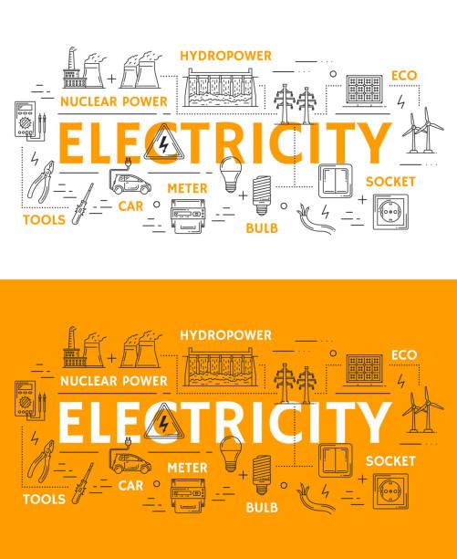 ilustraciones, imágenes clip art, dibujos animados e iconos de stock de iconos de electricidad, energía y energética - amperímetro