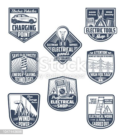 Electricity supply, electric service and energy saving vector icons. Electric tools, green power technology and electrician work shield for emblem design