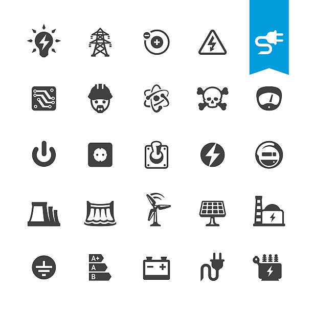 Electricity related vector icons Electricity BASE pack #15 transformer stock illustrations