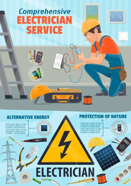 ilustraciones, imágenes clip art, dibujos animados e iconos de stock de servicio de reparación de electricidad, trabajador electricista - amperímetro