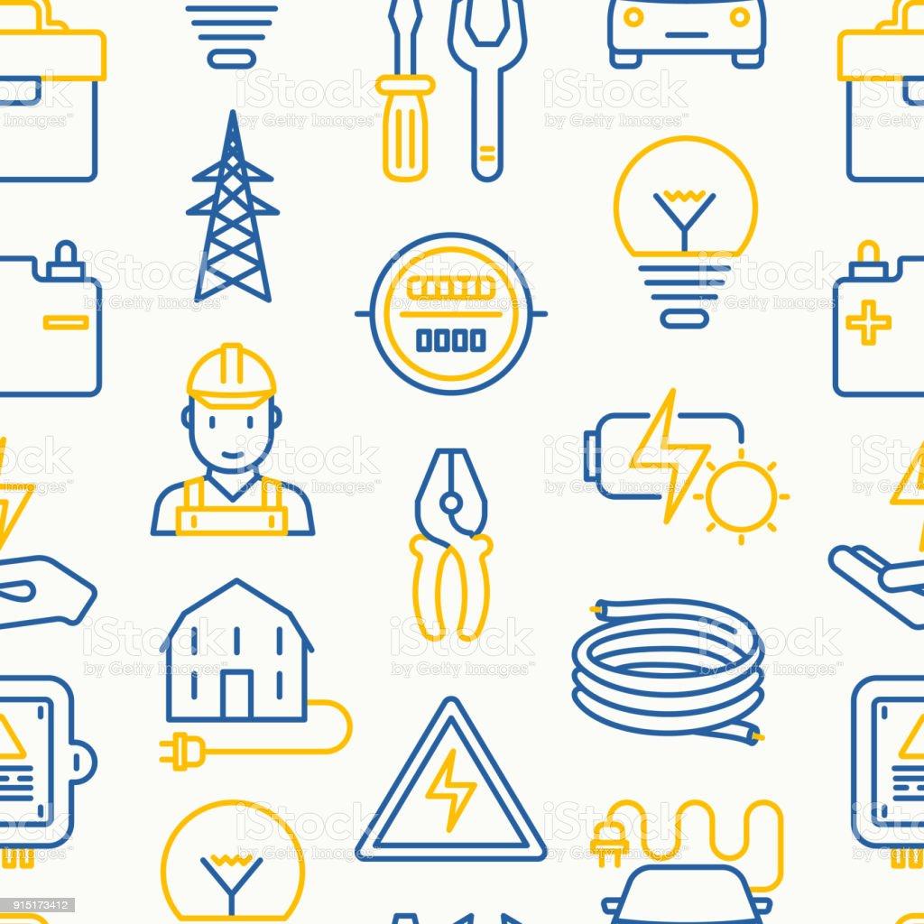 細い線のアイコンと電気シームレス パターン: 電気技師、電球、パイロン、ツールボックス、ケーブル、電気車、手、太陽電池。バナー、web ページ、印刷メディアのベクトル図です。 ベクターアートイラスト