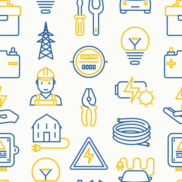 ilustrações, clipart, desenhos animados e ícones de padrão sem emenda de electricidade com ícones de linha fina: eletricista, bulbo, pilão, caixa de ferramentas, cabo, carro elétrico, mão, bateria solar. ilustração vetorial para banner, página web, mídia impressa. - eletricista