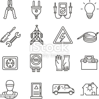electrician tools collection. Thin line design