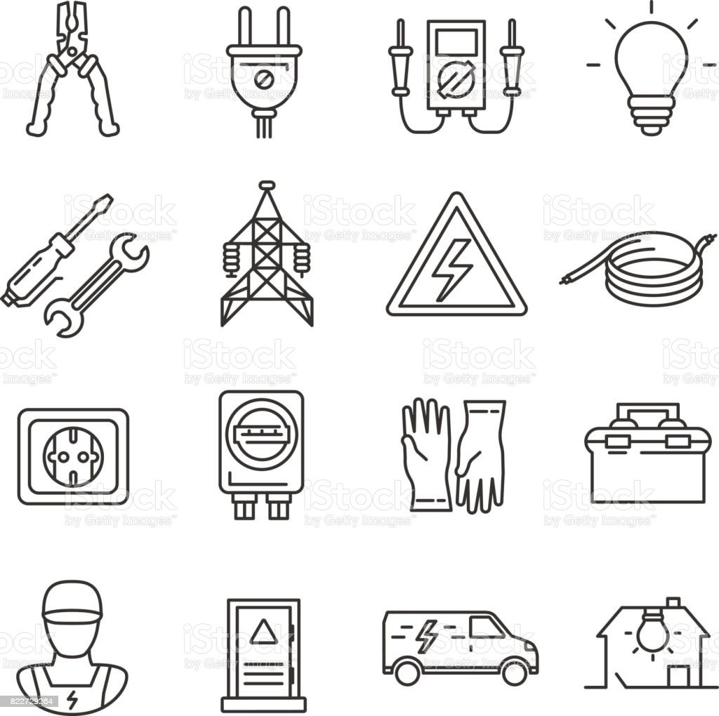 electricity. set of line icons vector art illustration