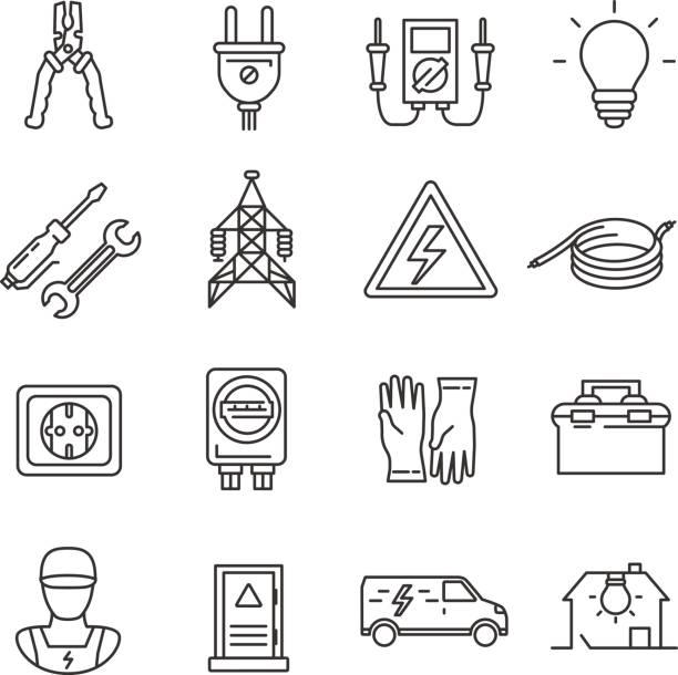 ilustrações, clipart, desenhos animados e ícones de eletricidade. conjunto de ícones de linha - eletricista