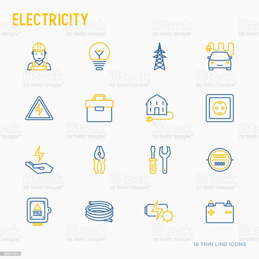 電気細い線アイコンを設定: 電気技師、電球、パイロン、ツールボックス、ケーブル、電気車、手、太陽電池。ベクトルの図。 ベクターアートイラスト