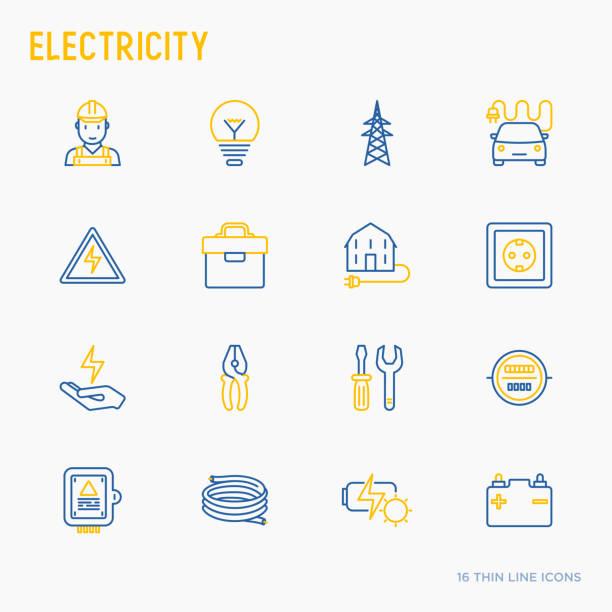 Conjunto de iconos de delgada línea electricidad: electricista, bombilla, torre, caja de herramientas, cable, coche eléctrico, mano, batería solar. Ilustración de vector. - ilustración de arte vectorial