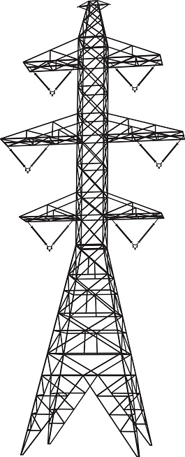 500kV double-circuit electricity pylon (electric transmission tower). Vector illustration (silhouette) derived from a detailed 3D SketchUp model, perspective view. See also: