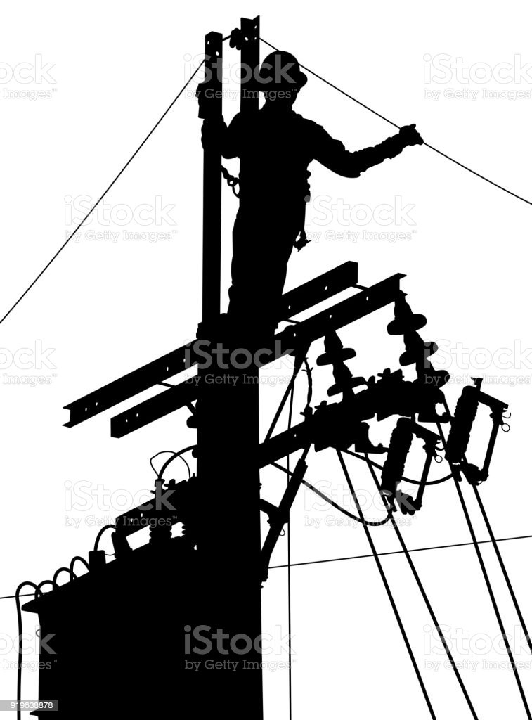 Electricity utility worker silhouette vector art illustration