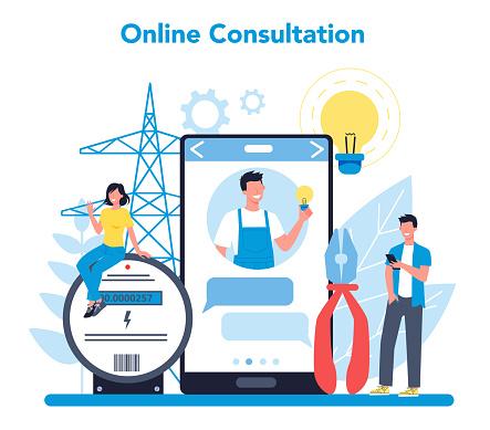 Electricity works service online service or platform. Online