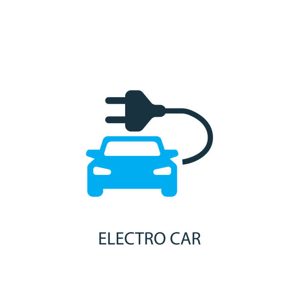 Electro car icon. Logo element illustration Electro car icon. Logo element illustration. Electro car symbol design from 2 colored collection. Simple Electro car concept. Can be used in web and mobile. electro music stock illustrations
