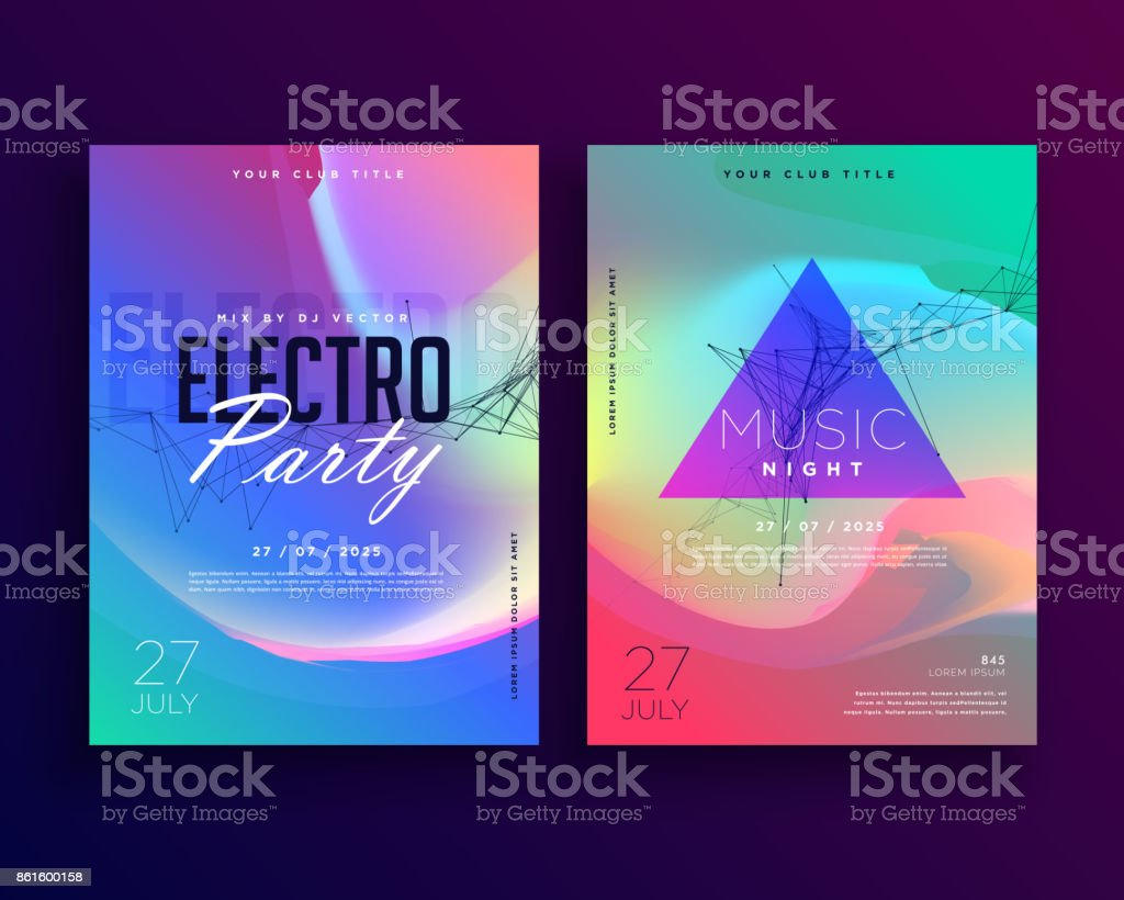 Electro Music Colorful Party Event Flyer Template Design Stock