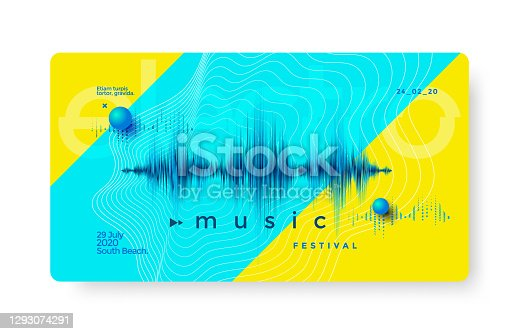 Electronic music festival poster with distorted equalizer . Cover design Electro fest. Musical party flyer with dynamic colorful sound wave.