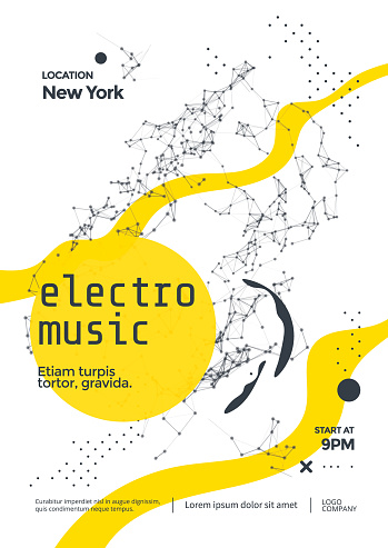Electro music modern club party flyer with Abstract plexus elements.