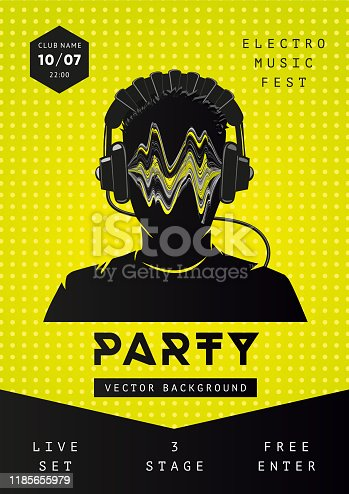 istock Electro music party poster template. Dance festival background with dj face. Night club fkyer design 1185655979