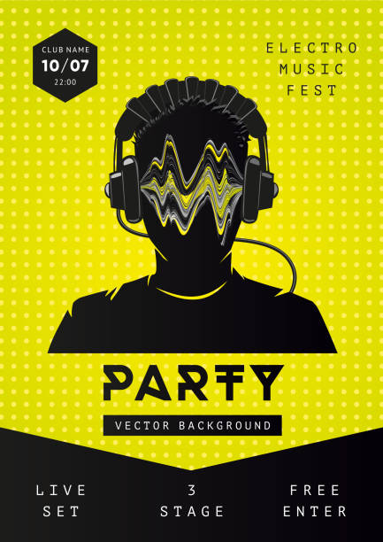 Electro music party poster template. Dance festival background with dj face. Night club fkyer design Electro music party poster template. Night club flyer design Dance festival background with dj face. electro music stock illustrations