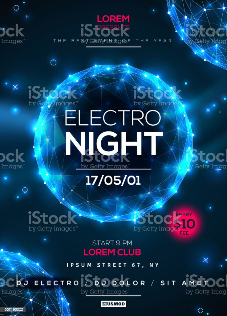Electro night party poster template vector art illustration
