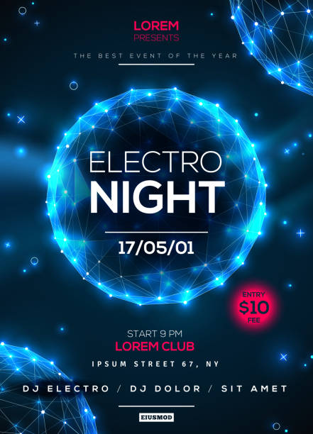 Electro night party poster template Electro night party poster template with blue shining polygonal elements on dark background. Vector illustration. Dance party flyer or brochure. electro music stock illustrations