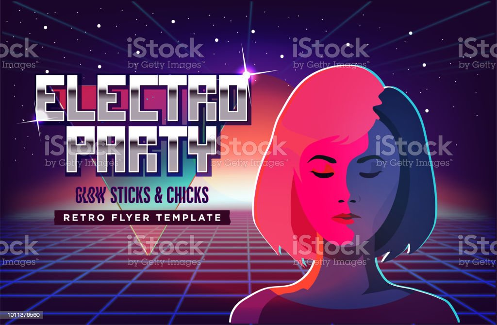 Electro Party Music Poster Template Violet Neon Fashion Girl