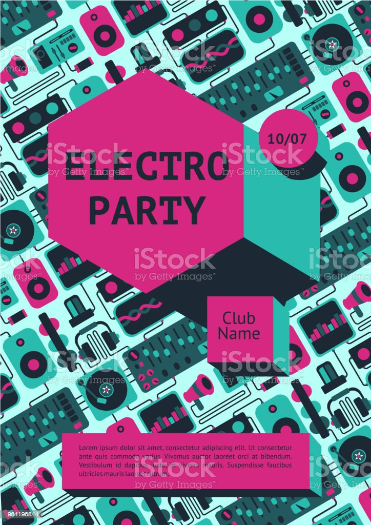 Electro Party Poster With Dj Equipment On A Background Dance Music Fest Banner For Nightclub