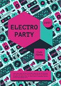 Dance music fest banner for nightclub. Electro party poster with dj equipment on a background.
