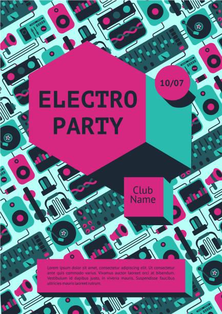 bildbanksillustrationer, clip art samt tecknat material och ikoner med electro party affisch med dj-utrustning på en bakgrund. dans musik fest banner för nattklubb. - hip hop poster