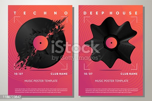 Night club vector background. Electro party poster with vinyl record. Music festival flyer template with abstract element.