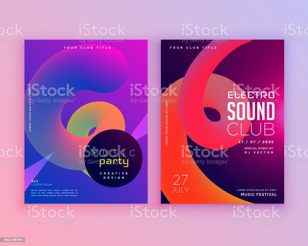 electro sound club music flyer template design