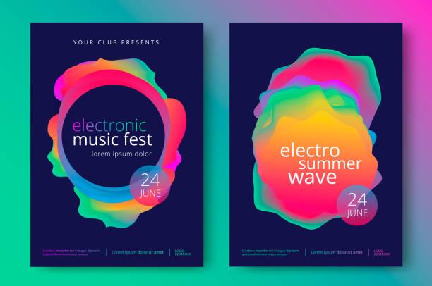 elektro sommer welle musik poster - edm stock-grafiken, -clipart, -cartoons und -symbole