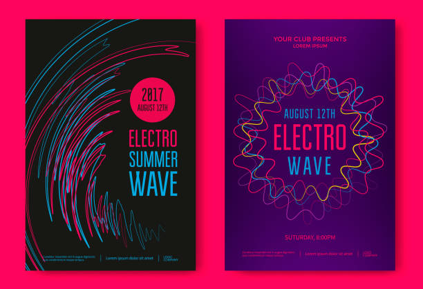 Electro summer wave Electro summer wave music poster. Club music flyer. Abstract colored waves music background. electro music stock illustrations