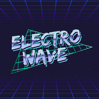 Electro Wave retro futuristic logo. Electro music logo design. 80's style label with abstract triangle shape and laser grid on background. Vector Print for T-shirt, typography.