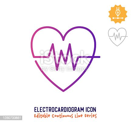 Electrocardiogram vector icon illustration for logo, emblem or symbol use. Part of continuous one line minimalistic drawing series. Design elements with editable gradient stroke line.