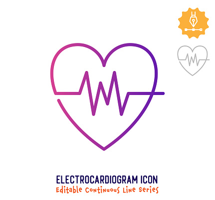 Electrocardiogram Continuous Line Editable Stroke Line