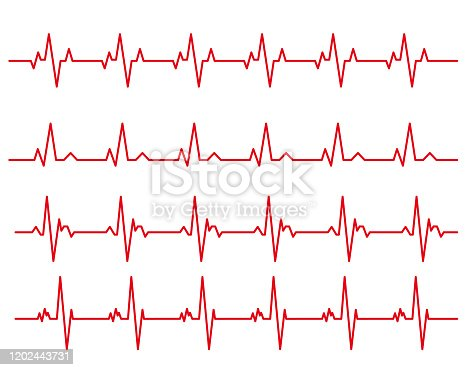 istock electro-cardiogram Line rhythm illustration material set 1202443731