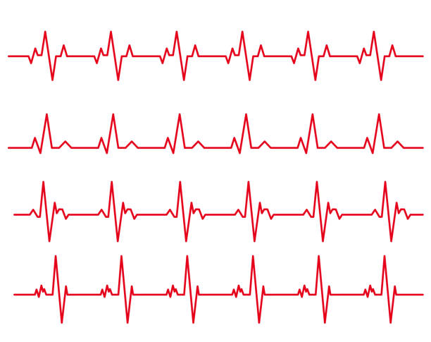 electro-cardiogram Line rhythm illustration material set electro-cardiogram Line rhythm illustration material set taking pulse stock illustrations